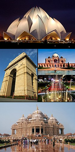 From top clockwise:  Lotus temple, Humayun's Tomb, Connaught Place,Akshardham temple and India Gate.
