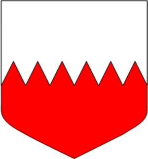 Line (heraldry) - Per fess indented argent and gules