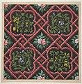 Design for wallpaper featuring flowers and latticework MET DP811320.jpg