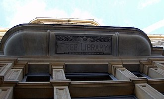 """Old Library, Cardiff - The only sign of the """"Free Library"""" on the building"""
