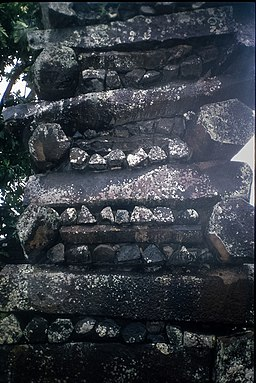 Detail of a wall constructed of columnar basalt pieces at Nan Madol