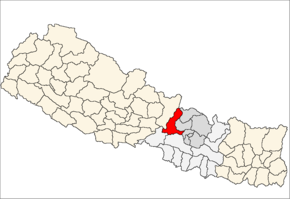 Dhading District i Bagmati Zone (grå) i Central Development Region (grå + lysegrå)