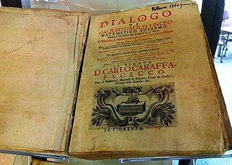 Dialogue Concerning the Two Chief World Systems - A copy of the Dialogo, Florence edition, located at the Tom Slick rare book collection at Southwest Research Institute, in Texas.