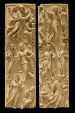 e}}. Musée du Louvre, LP 1267. On reconnaît Horace dans le personnage assis à gauche en bas du feuillet de droite.