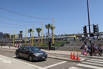 Downtown Santa Monica station - Station as seen from the east corner of 4th St. and Colorado Ave.