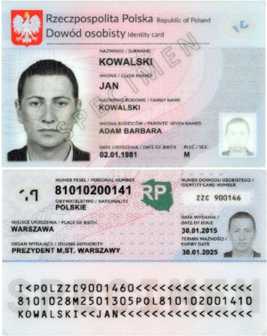Polish identity card - Polish national ID card (front and back)