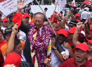 Tan Cheng Bock - Dr. Tan Cheng Bock at the Nomination Centre, carried by supporters.