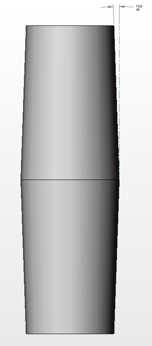 Draft (engineering) - Profile view of a drafted cylinder with the draft dimension