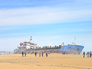 Mundakkal Beach - A dredger ship washed up on the Mundakkal beach