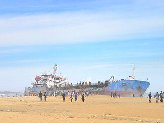 Mundakkal Beach - A dredger ship washed up on the Mundakkal beach