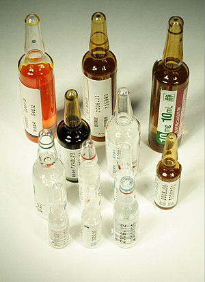 Medical jurisprudence - Image: Drug ampoule JPN