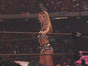 Stacy Keibler - Keibler during the WrestleMania X8 event in March 2002
