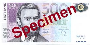 Carl Robert Jakobson - Jakobson on the 500 kroon note