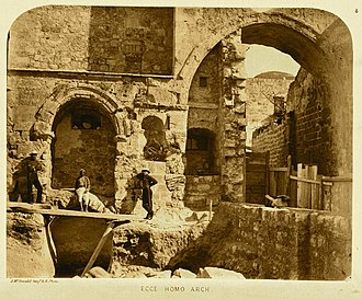 Aelia Capitolina - The remaining two arches of the gateway in 1864