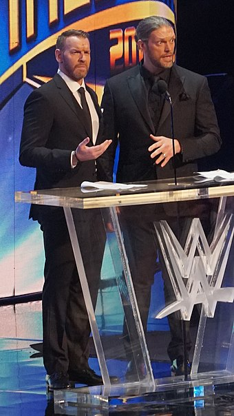Christian and Edge at the WWE Hall of Fame ceremony in April 2018 Edge and Christian April 2018 crop.jpg