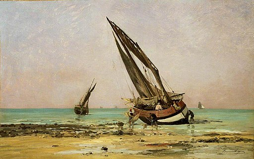 Edmond Charles Yon (1836-1897) - Beached Fishing Boats at Low Tide, Villerville - BHC2338 - Royal Museums Greenwich