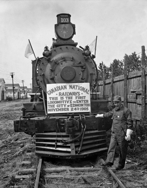 Timeline of Edmonton history - Canadian Northern Railway (CNoR) arrived in Edmonton in 1905.
