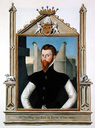 Edward Courtenay, 1st Earl of Devon - 19th-century copy by Sarah Bazett (d.1838) of portrait of Edward Courtenay, 1st Earl of Devon (d.1556) by Steven van der Meulen (d.1564). The Courtenay arms are shown above: Or, 3 torteaux; the escutcheon is surmounted with the Courtenay crest of feathers. On the gothic frame are shown two small figures of the Courtenay supporters, a boar and dolphin