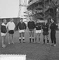 Eerste training van Feyenoord. Vlnr trainer Frans Fuchs, Hans Kraay, Rob van He, Bestanddeelnr 912-8200.jpg