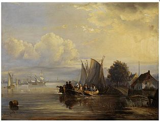 Shore landscape with moored sailing boats and a crowded barge