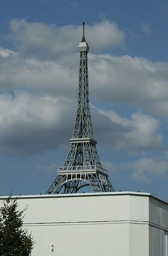 Satteldorf - Replica of Eiffel Tower on factory building at Satteldorf near Crailsheim, Germany