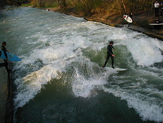 River surfing - Surfing a standing wave on the Eisbach.