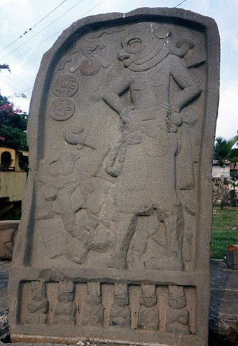 Stela from El Baul in the Cotzumalhuapa Nuclear Zone, showing two ballplayers. El Baul Ballgame Stela.jpg