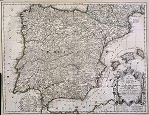 Jean-Baptiste Nolin - Image: El Reyno de España dividido en dos grandes Estados de Aragón y de Castilla