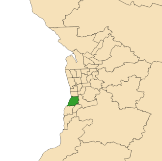 Electoral district of Black - 2018 boundaries shown in green in Adelaide region