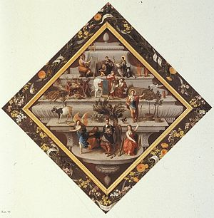 Violieren - Poem as rebus on a shield, 1681, Royal Museum of Fine Arts of Antwerp. Painted for the Violieren by the painters Hendrick van Balen, Jan Brueghel the Elder, Frans Francken II, and Sebastian Vrancx, this painting won them first prize in a rhetoric competition.