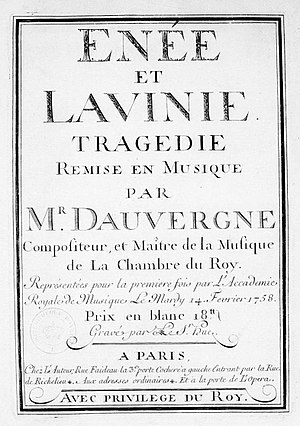 Énée et Lavinie (Dauvergne) - Title page of the score