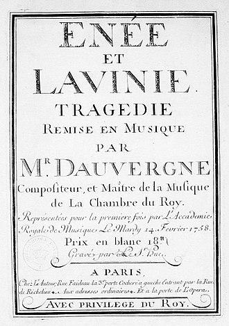 Énée et Lavinie (Dauvergne) - Title page of the score