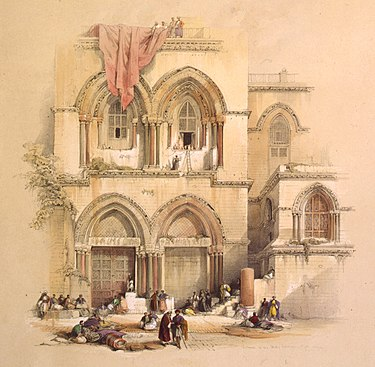 1842 lithograph based on artwork by David Roberts, in The Holy Land, Syria, Idumea, Arabia, Egypt, and Nubia Entrance to the Holy Sepulchre; title page, vol. 1 (cropped).jpg