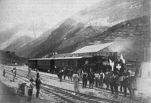 BVZ Zermatt-Bahn - The arrival of the first train in Zermatt.