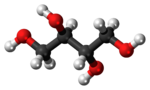 Ball-and-stick model of the erythritol molecule