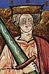 "Image of Ethelred 2. with an oversize sword from the illuminated manuscript ""The Chronicle of Abingdon"""