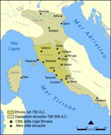 Espansione della civiltà etrusca dall'VIII al VI secolo a.C.