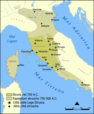 Padanian Etruria - The Etruscan civilization and its expansion (750-500 a.C.).