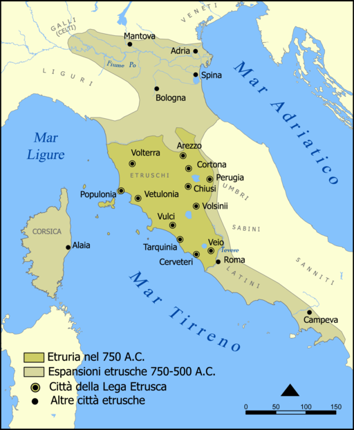 Etruscan civilization italian map