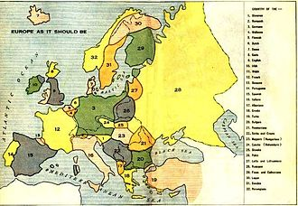 """Causes of World War I - Louis P. Bénézet's map of """"Europe As It Should Be"""" (1918), depicting imagined nations based on ethnic and linguistic criteria. Bénézet's book The World War and What was Behind It (1918) blamed on German aggression combined with perceived threats to the traditional social order from radicals and ethnic nationalists."""