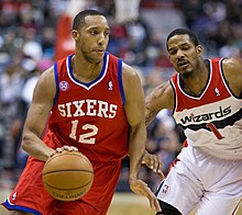 f7911ab0924a Turner (left) with the 76ers against Trevor Ariza in March 2013