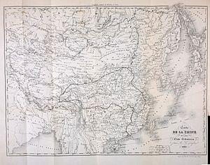 Évariste Régis Huc - Map of journey to Tibet and return, from the 1850 edition of Souvenirs d'un voyage ....