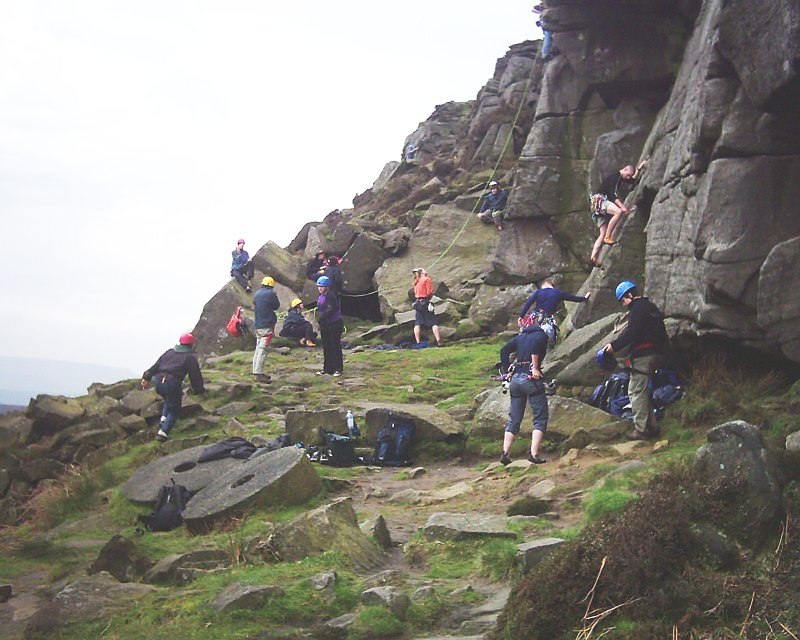 Explorer Scouts climbing at Stanage Edge