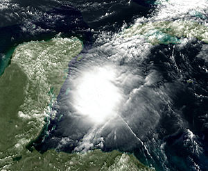 English: Tropical Storm Agatha after crossing ...