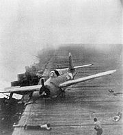 F4F-4 Wildcat of VF-72 crash-lands on USS Enterprise (CV-6) on 26 October 1942