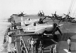 VMA-214 - VMF-214 F4U-4Bs on the USS Sicily in late 1950