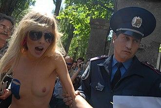 Femen - Demonstration in front of the Russian embassy in Kiev in May 2010