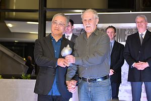 Katsuhiro Otomo - Otomo (left) with Hermann Huppen at the 2016 Angoulême International Comics Festival