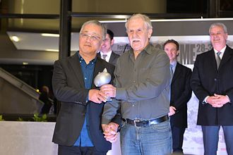 Katsuhiro Otomo - Otomo (left) with Hermann Huppen at the 2016 Angoulême International Comics Festival