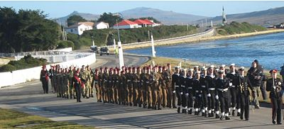 Falkland Islands Defence Force on parade in June 2013